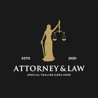 Concepto de logotipo de mujer / dama ley.