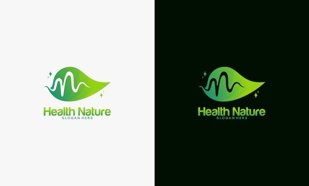Concepto de logotipo de naturaleza de salud, plantilla de logotipo de naturaleza