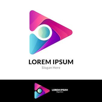 Concepto de logotipo de núcleo de medios