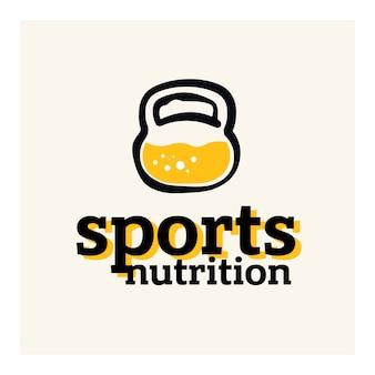 Concepto de logotipo de nutrición deportiva. proteína dentro del concepto de pesas rusas.