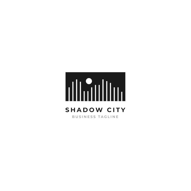 Concepto de logotipo de paisaje de la ciudad con estilo de diseño de línea de tira minimalista y luna.