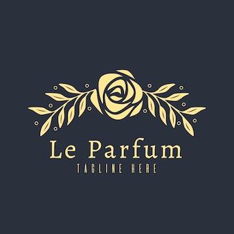 Concepto de logotipo de perfume floral de lujo