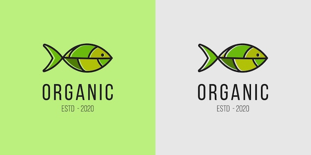 Concepto de logotipo de pescado y hoja adecuado para el negocio de bebidas y alimentos orgánicos frescos