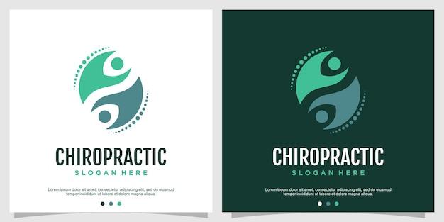 Concepto de logotipo quiropráctico para la salud y el cuidado vector premium parte 2