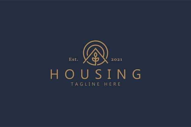 Concepto de logotipo simple de planta natural de casa. marca de logotipo de plantilla de insignia circular para empresa comercial y producto.