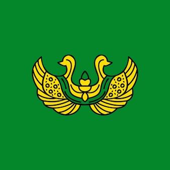 Concepto de logotipo tradicional con pájaro abstracto