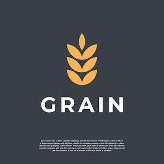 Concepto de logotipo de trigo de grano de lujo simple, icono de vector de plantilla de logotipo de trigo de agricultura