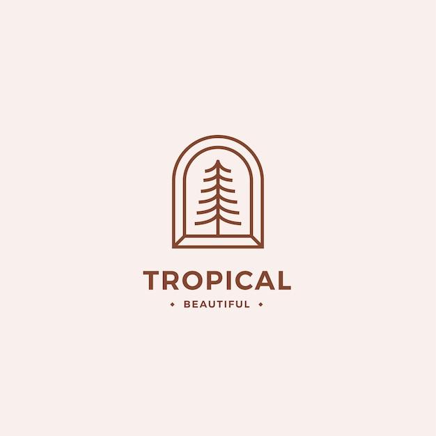 Concepto de logotipo tropical con árbol de contorno y marco mínimo abstracto