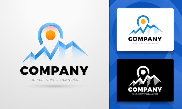 Concepto de logotipo de ubicación con ilustración de montañas en vector editable