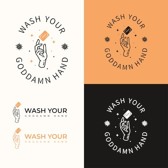 Concepto de logotipo de wash your hand