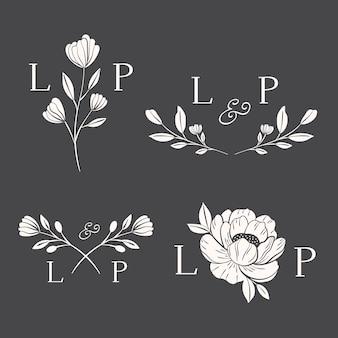 Concepto de logotipos florales de boda
