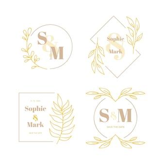 Concepto de logotipos de monogramas de boda elegante