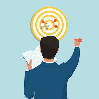 Concepto de logro de objetivos por un exitoso hombre de negocios que lee. lanzar dardos justo en el blanco.
