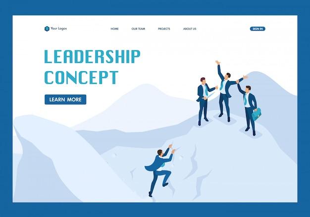 Concepto de logro de objetivos isométricos con su equipo, página de aterrizaje de liderazgo