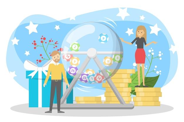 Concepto de lotería. apuesta y bingo. jugar un juego