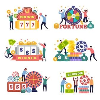 Concepto de lotería. personajes, juegos de casino, bingo, suerte, póquer, juego, premio, vector, plano, imágenes. ilustración ganador y lotería, juego de póquer