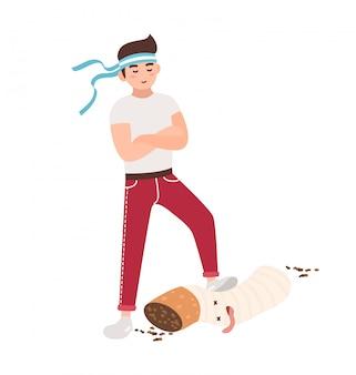 Concepto de lucha contra el tabaquismo. chico joven pisotea un cigarrillo. ilustración colorida en estilo plano de dibujos animados.