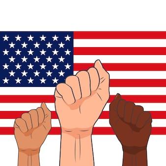 El concepto de lucha por los derechos y las libertades. protesta. todas las vidas son importantes. manos apretadas en puños contra el telón de fondo de la bandera estadounidense. ilustración de vector plano.