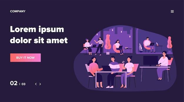 Concepto de lugar de trabajo conjunto. gente de oficina que usa computadoras en los lugares de trabajo, té, reuniéndose. ilustración para temas de negocios, comunidad, espacio de trabajo.
