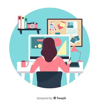 Concepto lugar de trabajo diseño gráfico