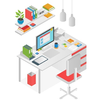 Concepto de lugar de trabajo de espacio de trabajo isométrico