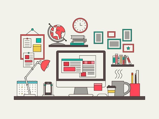 Concepto de lugar de trabajo en estilo de línea fina