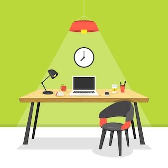 Concepto de lugar de trabajo portátil en madera la mesa