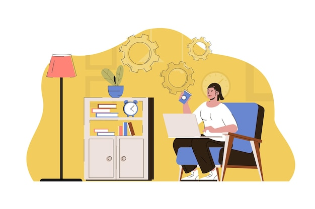 Concepto de lugar de trabajo remoto empleado que trabaja en línea con un portátil desde la oficina en casa