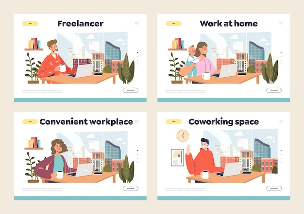 Concepto de lugar de trabajo remoto con trabajadores independientes que trabajan desde casa