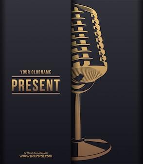Concepto de lujo oscuro de música con micrófono brillante dorado