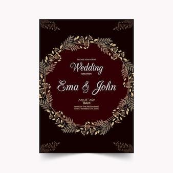 Concepto de lujo para plantilla de invitación de boda