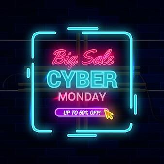 Concepto de lunes cibernético con diseño de neón
