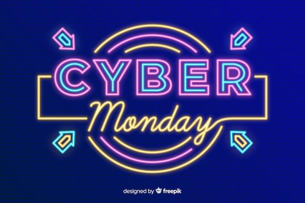 Concepto de lunes cibernético con fondo de neón