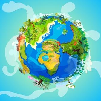Concepto de luz de planeta tierra de dibujos animados