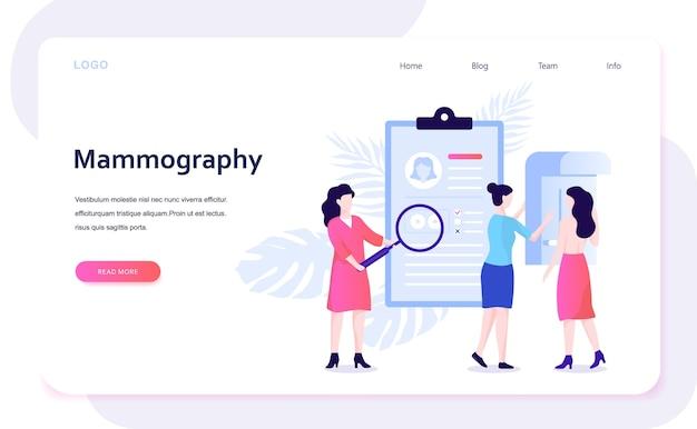Concepto de mamografía. examen de mamas en la clínica, diagnóstico médico. ilustración con estilo