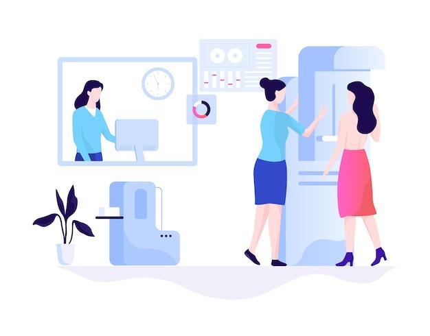 Concepto de mamografía. examen de mamas en la clínica.