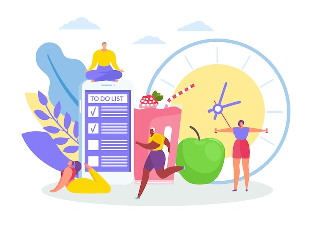Concepto de la mañana con hombres y mujeres trotar, en asanas de yoga, ejercicios matutinos, gran reloj, lista de tareas, manzana y bebida con sabor a fruta.