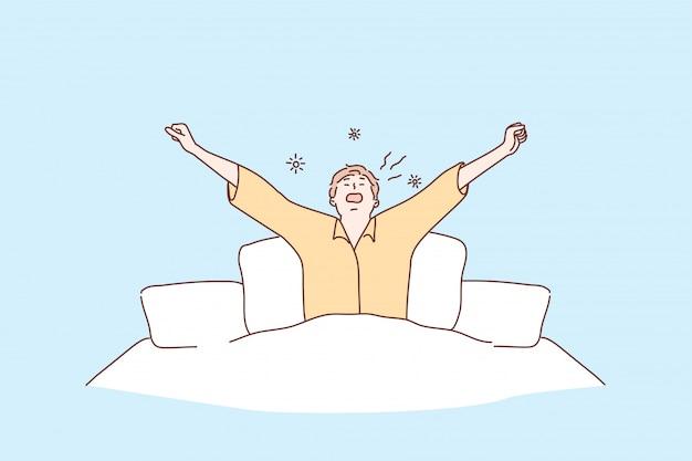 Concepto de mañana, salud, cuidado, despertar, relajación