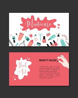 Concepto de manicura. salón de belleza y salón. encabezado del sitio, banner, tarjeta de visita, folleto y volante.ilustración de dibujos animados de vector