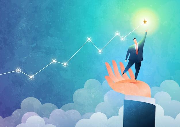Concepto de mano amiga. empresario de pie en la mano para alcanzar la meta. ilustración de negocios