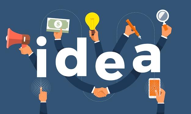 Concepto mano crear icono símbolo y palabras idea. ilustraciones.