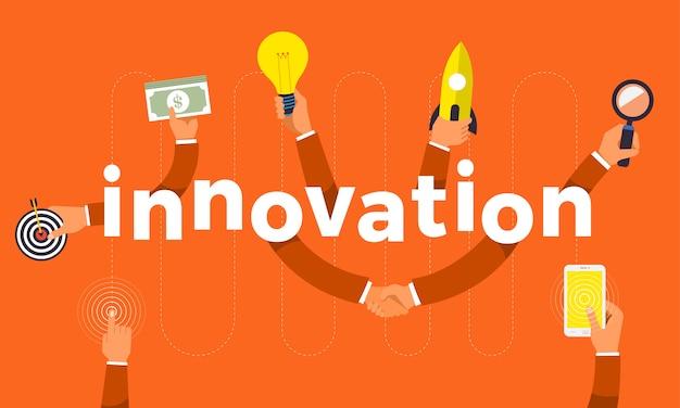 Concepto mano crear símbolo icono y palabras innovación. ilustraciones.