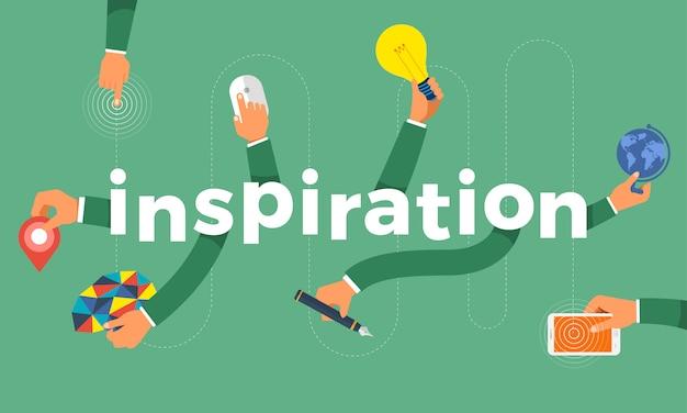 Concepto mano crear símbolo icono y palabras inspiración. ilustraciones.
