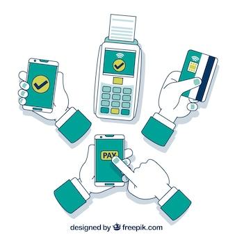 Concepto a mano de pago contactless