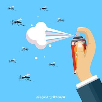 Concepto de mano sujetando spray de mosquitos