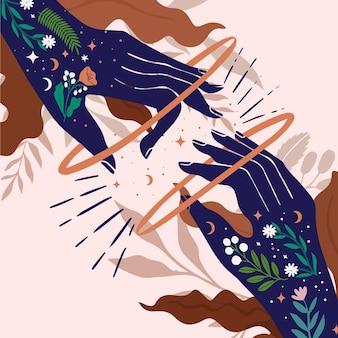Concepto de manos curativas de energía