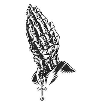Concepto de manos rezando esqueleto vintage