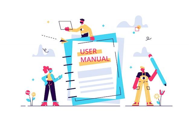 Concepto manual de usuario para página web, banner, redes sociales. ilustración sobre el contenido de la guía, documento de especificaciones de requisitos. la gente está leyendo las instrucciones del libro. \ n