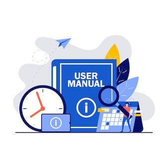 Concepto de manual de usuario con personajes. documento de especificaciones de requisitos. personas que leen las instrucciones del libro y discuten el contenido de la guía.