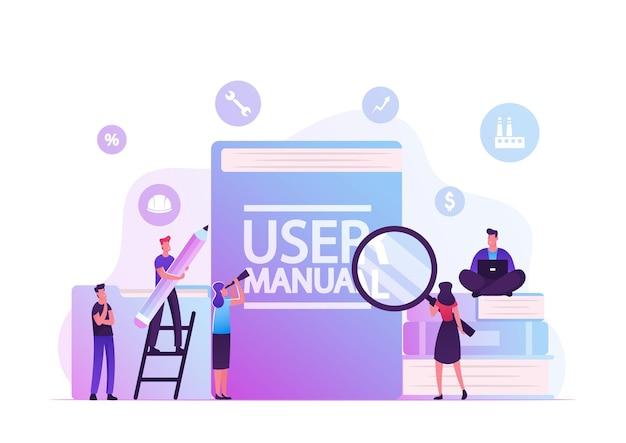 Concepto de manual de usuario. personas con algunas cosas de office que discuten el contenido de la guía. ilustración plana de dibujos animados